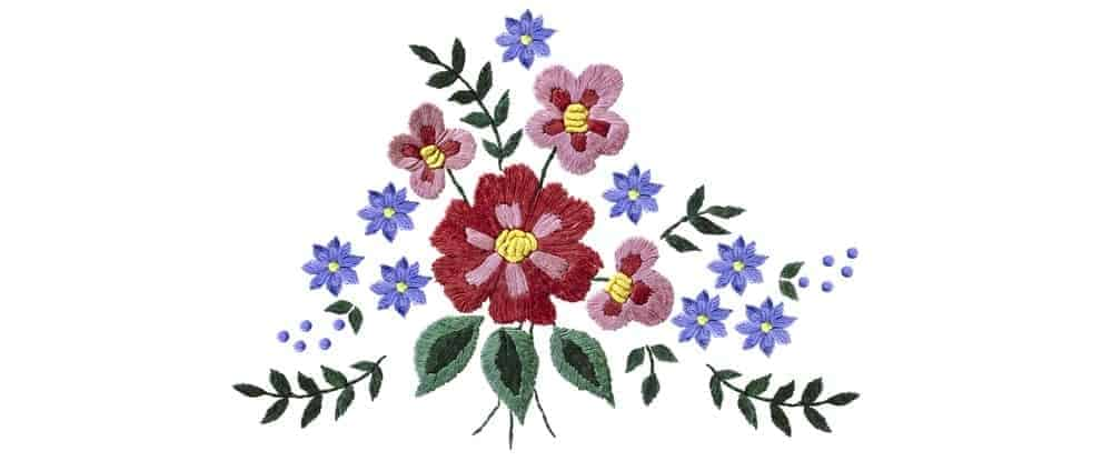 A close look at some floral embroidery work.