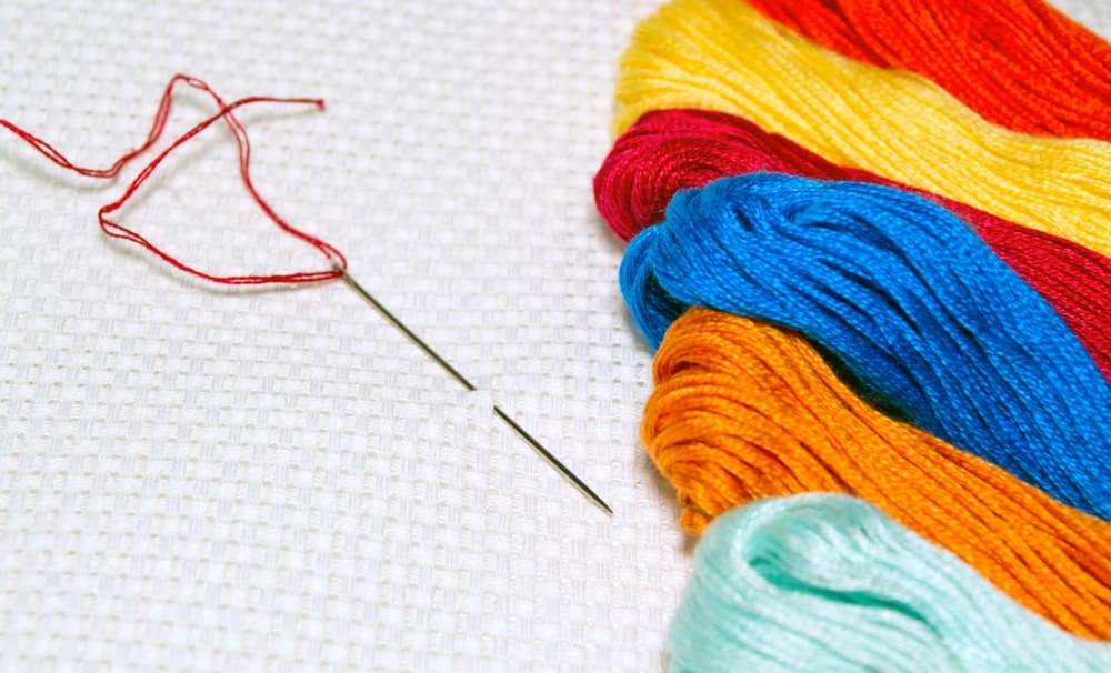 A close look at colorful embroidery thread.