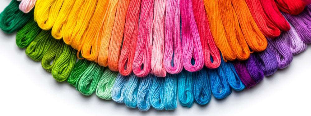 A close look at the rainbow colors of the threads.