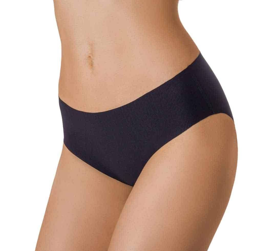 A close look at a woman wearing a pair of black seamless panties.