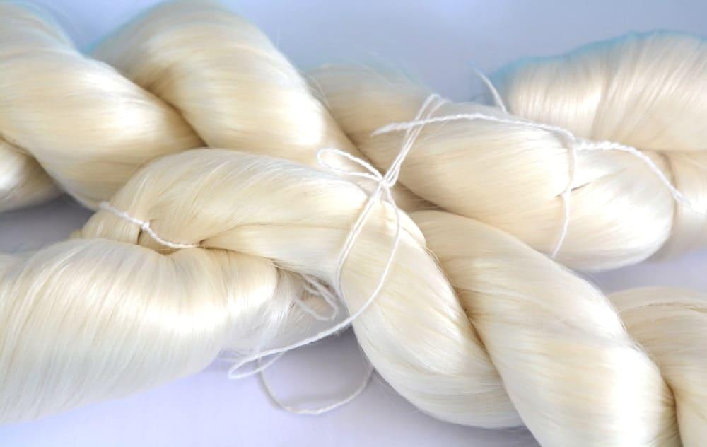 A close look at raw silk yarn.