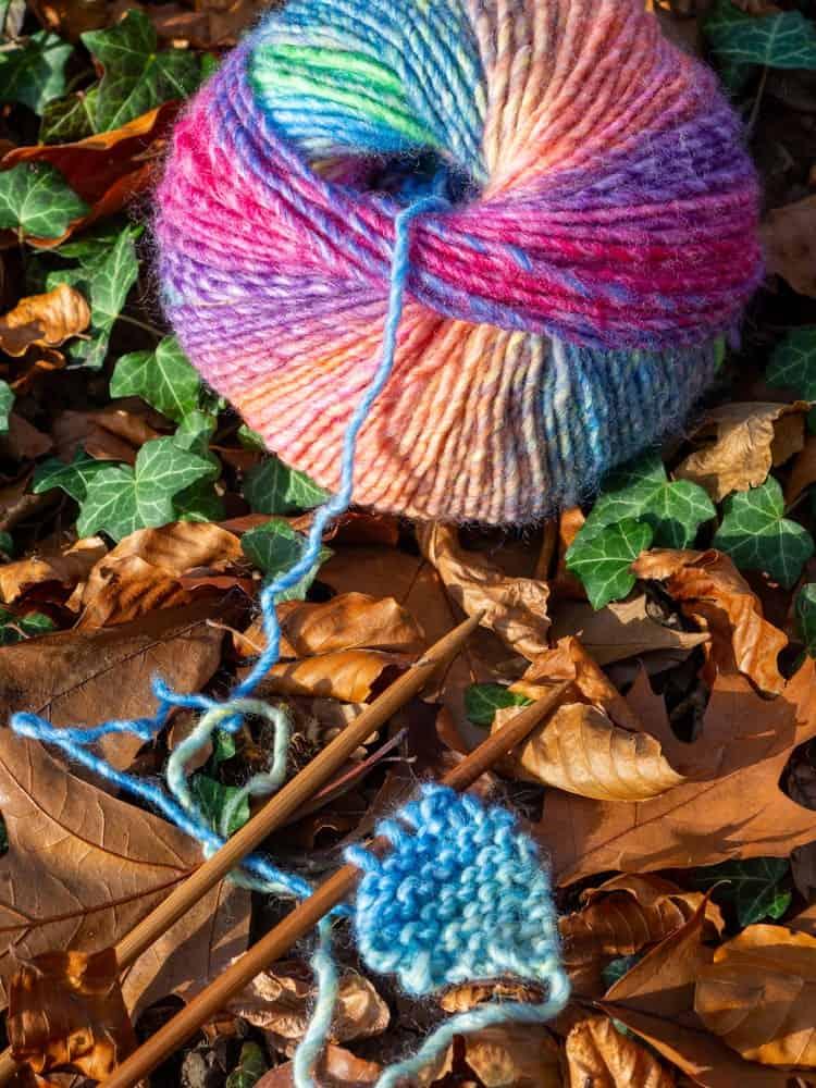 A ball of self-striping yarn.