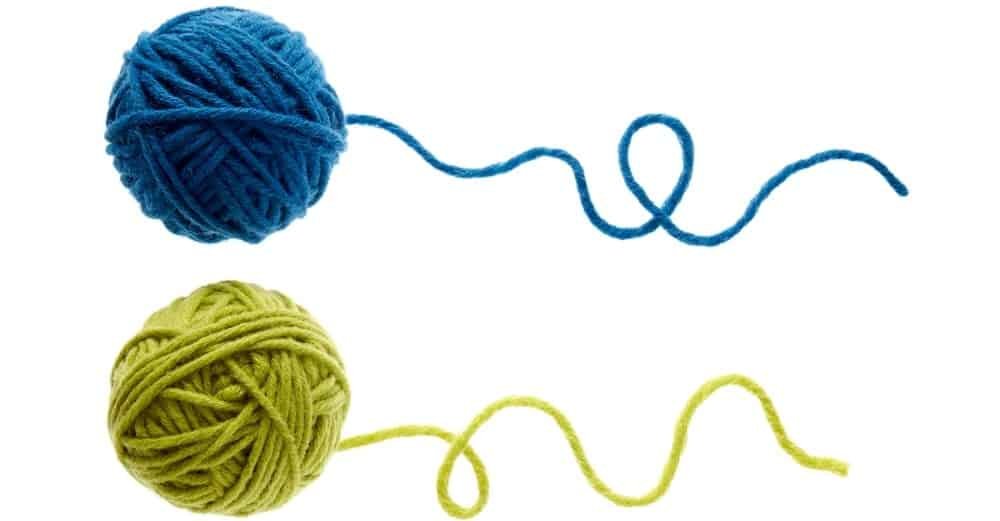 A blue and green ball of yarn.