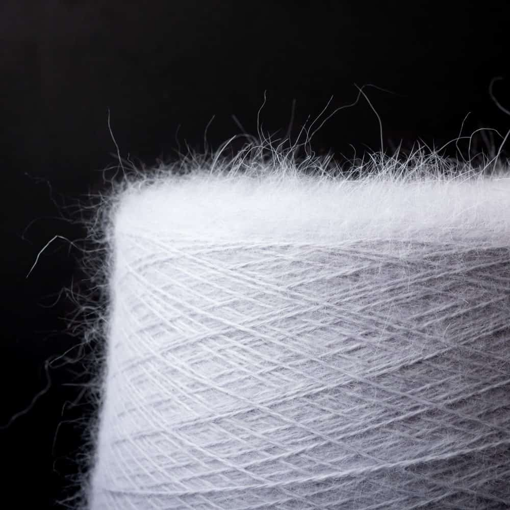 A close look at a spool of cashmere yarn.