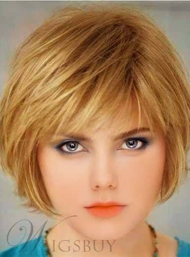 Short Straight Bob Hairstyle Capless Synthetic Wig from WigsBuy.