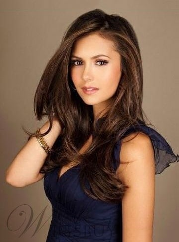 Nina Dobrev Long Straight Front Lace Human Hair Wig from WigsBuy.