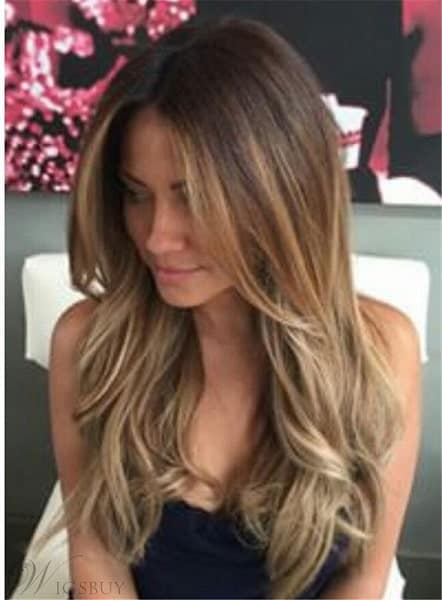 Wavy Layered Human Hair Women Lace Front Wig 22 Inches from WigsBuy.