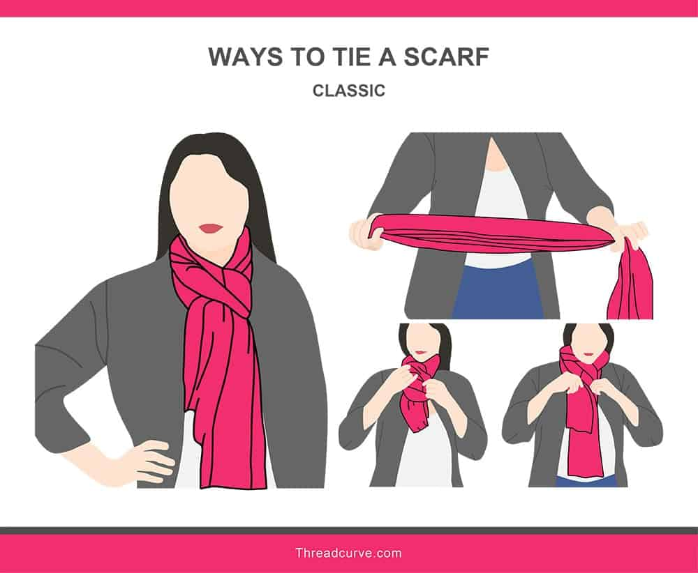 Illustration of a classic way to tie a scarf.