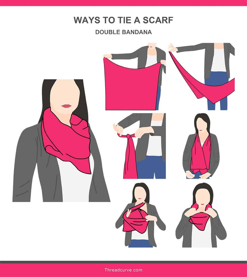 Illustration of a double bandana way to tie a scarf.