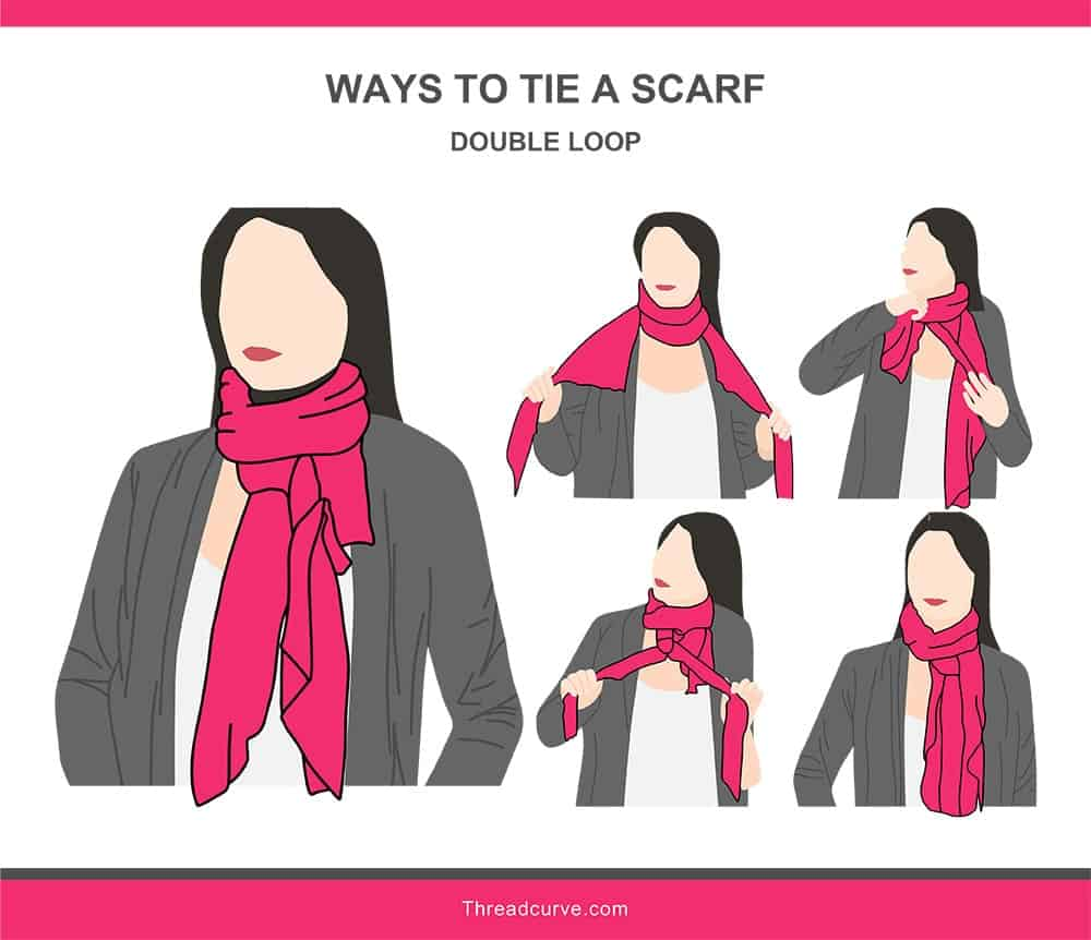 Illustration of a double loop way to tie a scarf.