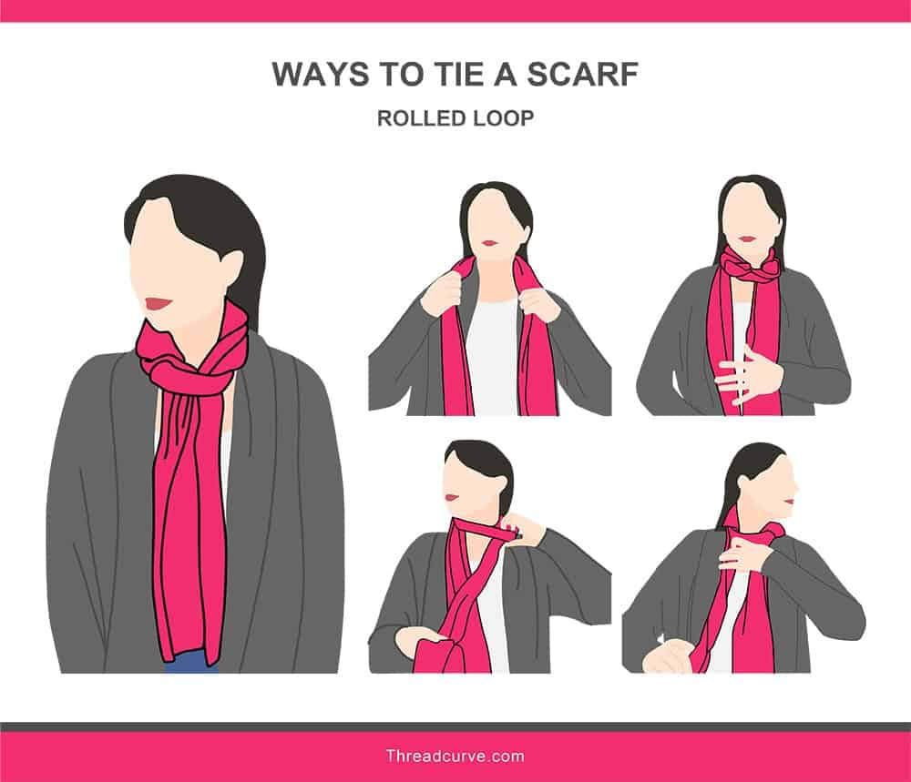 Illustration of the rolled loop way to tie a scarf.