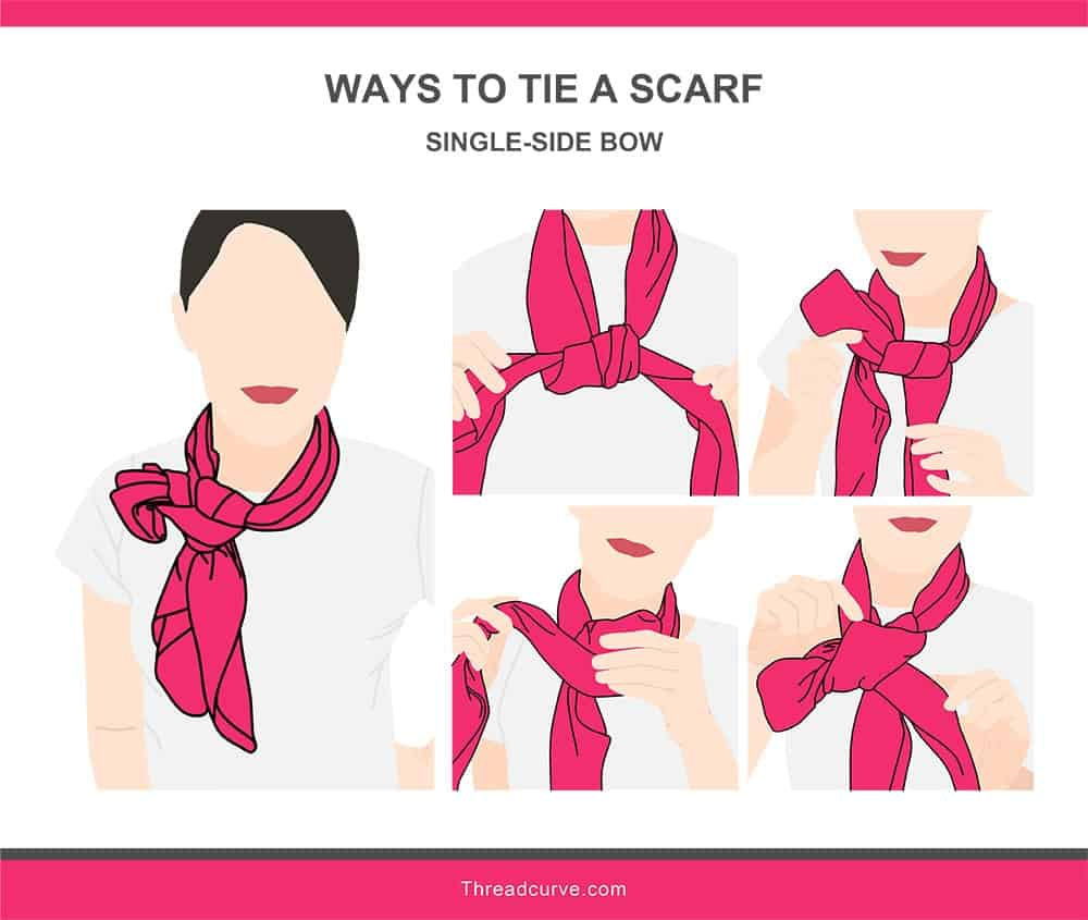 Illustration of the single-side bow way to tie a scarf.