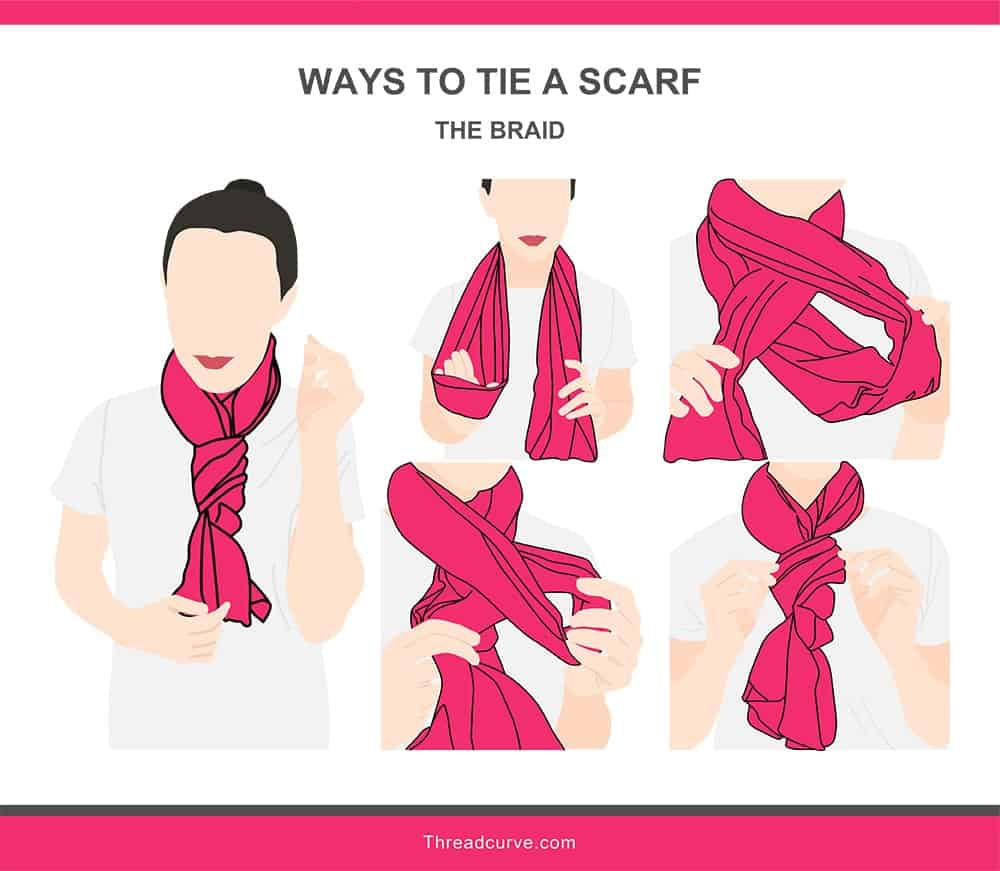 Illustration of the braid way to tie a scarf.