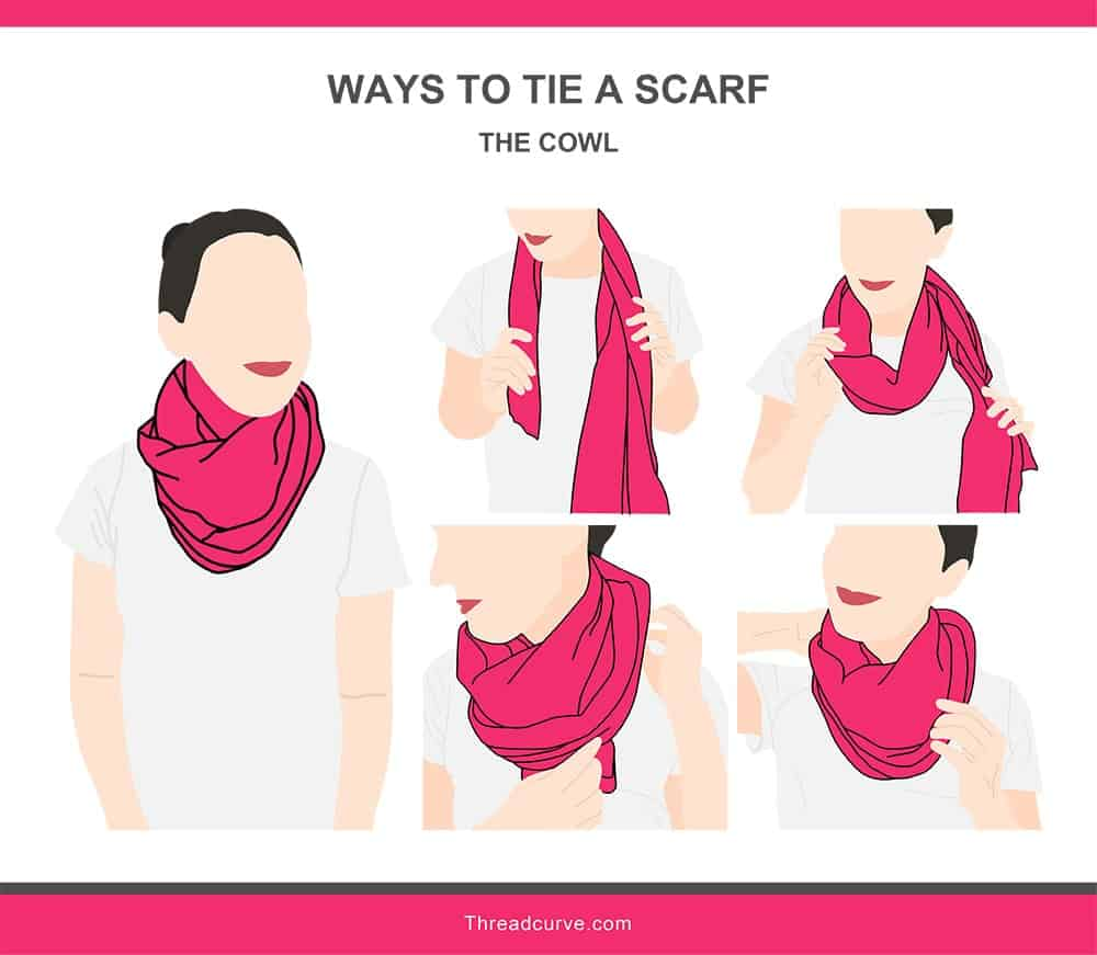 Illustration of the cowl way to tie a scarf.