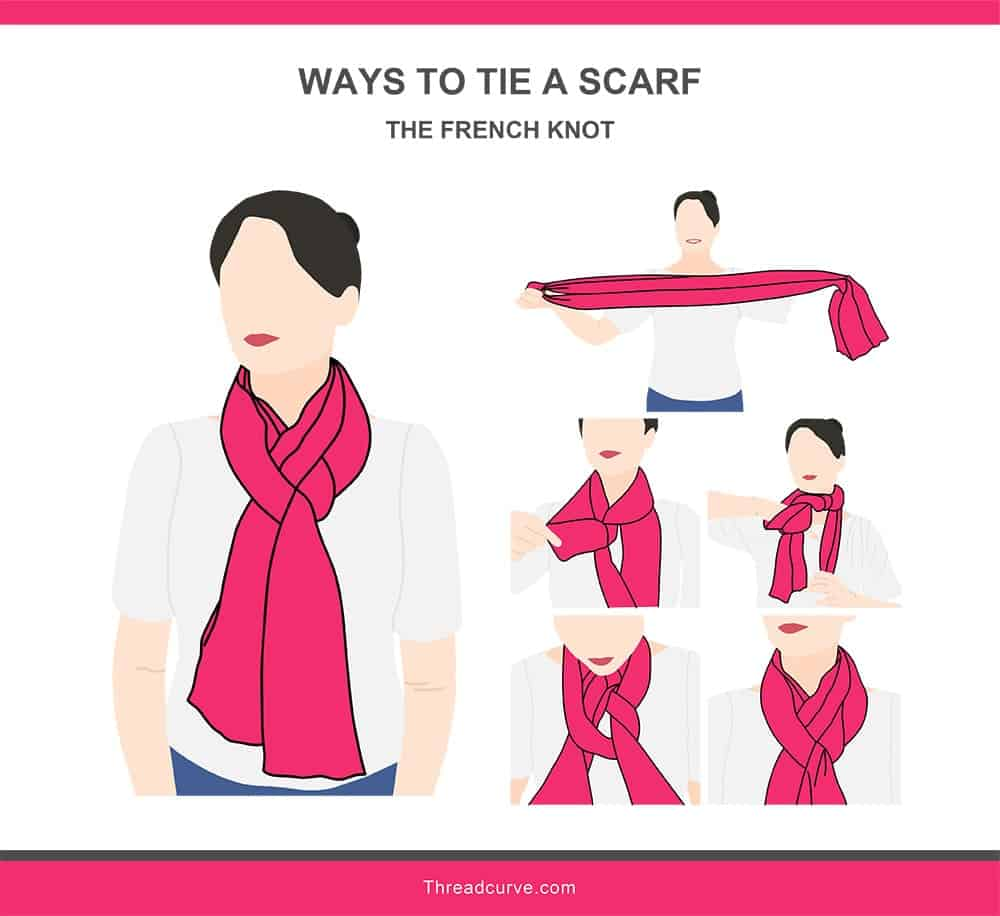 Illustration of the French knot way to tie a scarf.