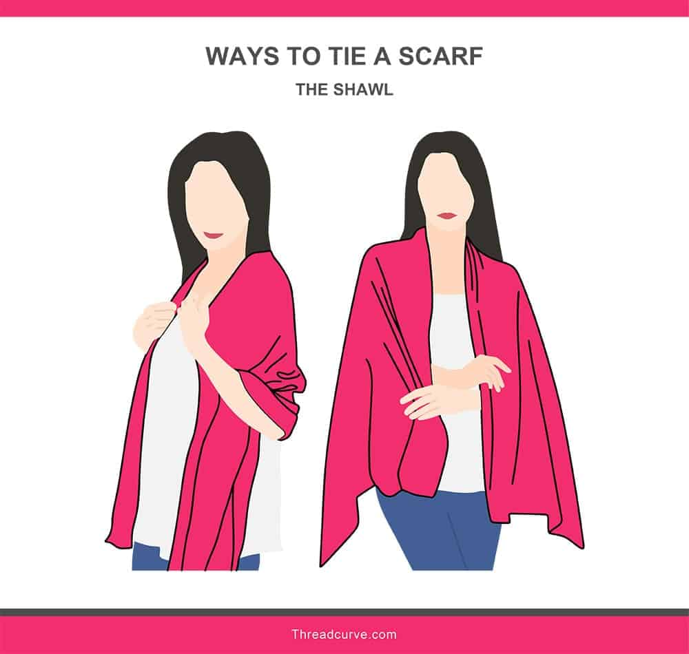 Illustration of the shawl way to tie a scarf.