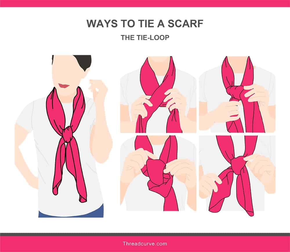Illustration of the tie-loop way to tie a scarf.