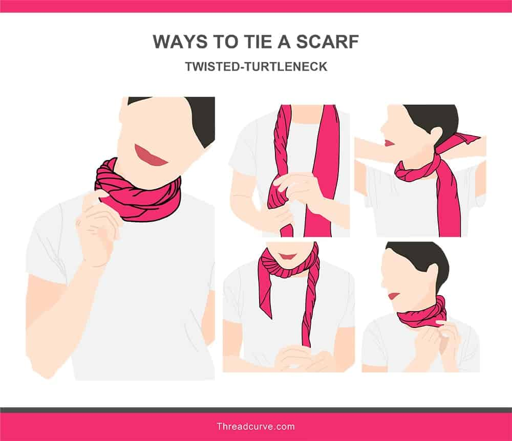 Illustration of the twisted-turtleneck way to tie a scarf.