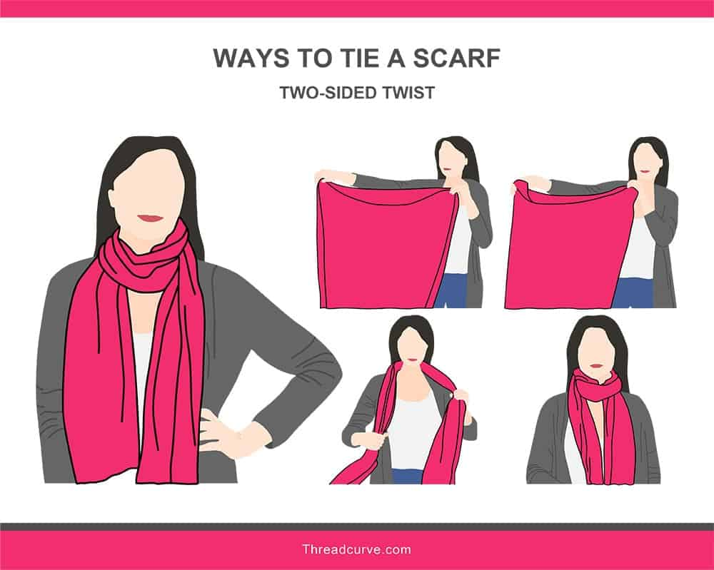 Illustration of the two-sided twist way to tie a scarf.