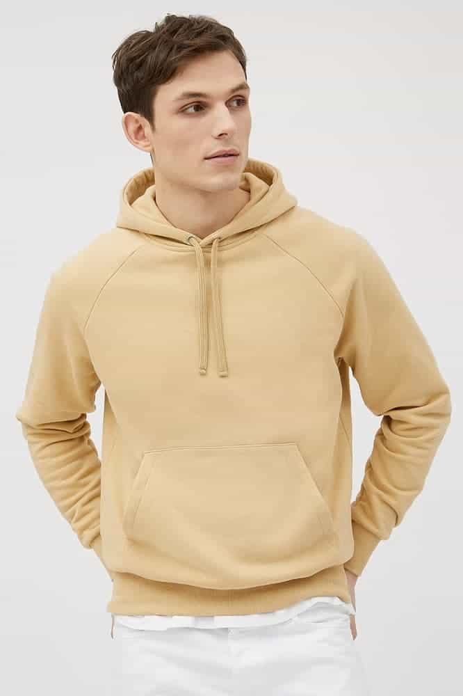 A Day's March Organic Hoodie in caramel.