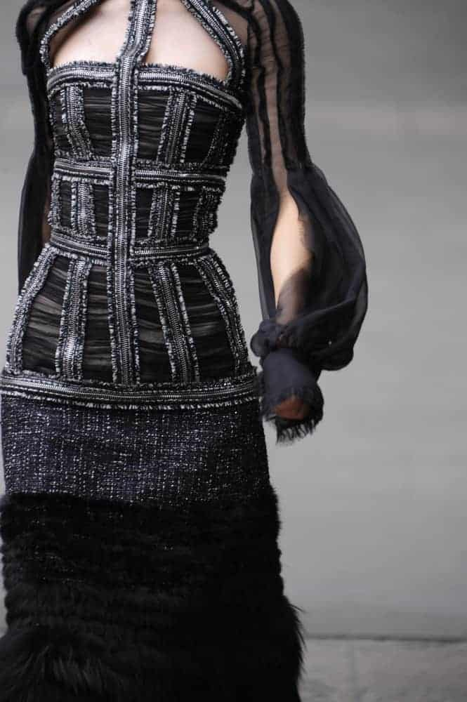A model wearing Joan collection during the Alexander McQueen Ready to Wear Autumn/Winter 2011/2012 show.