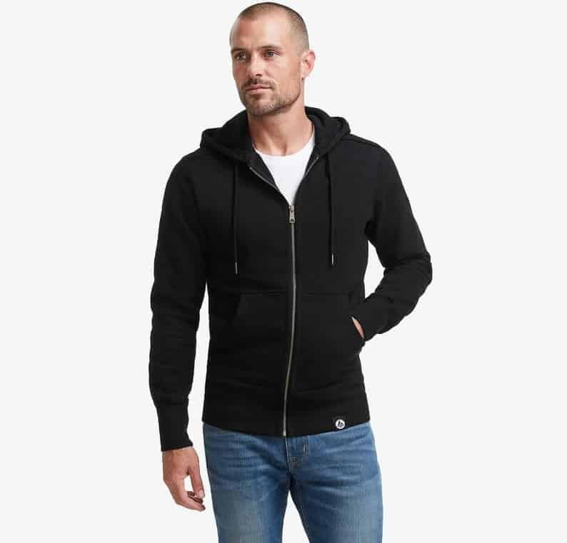 The American Giant Classic Full-Zip Hoodie in black.