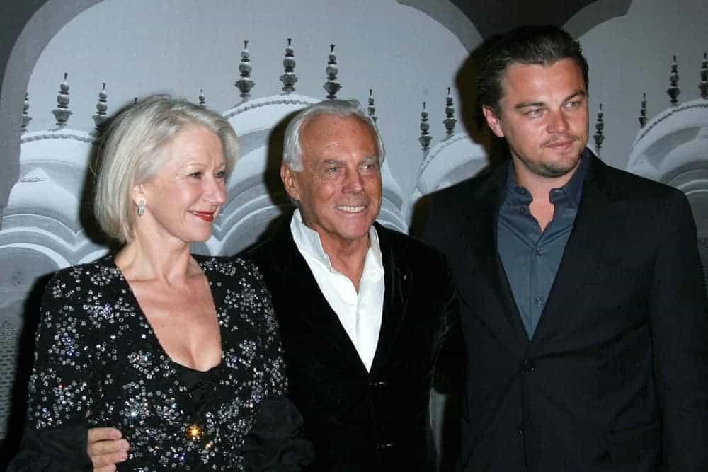 Giorgio Armani with Helen Mirren and Leonardo DiCaprio at the Giorgio Armani Prive Show.