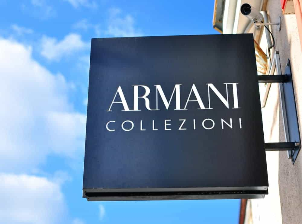 Armani Collezioni logo on the flagship store in Minsk