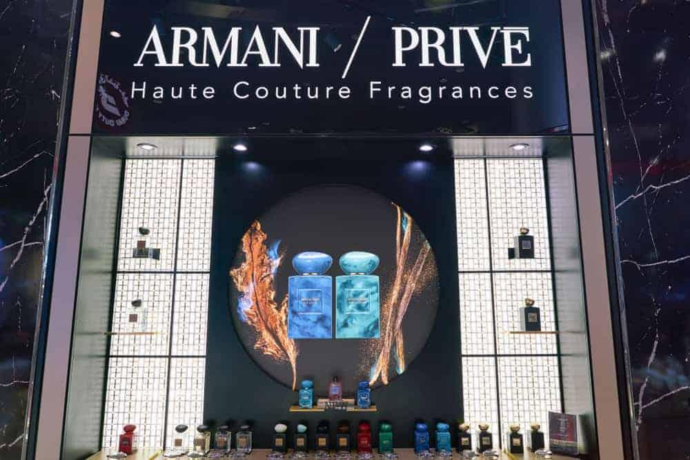 Armani Prive haute couture fragrances in Duty Free at Dubai International Airport.