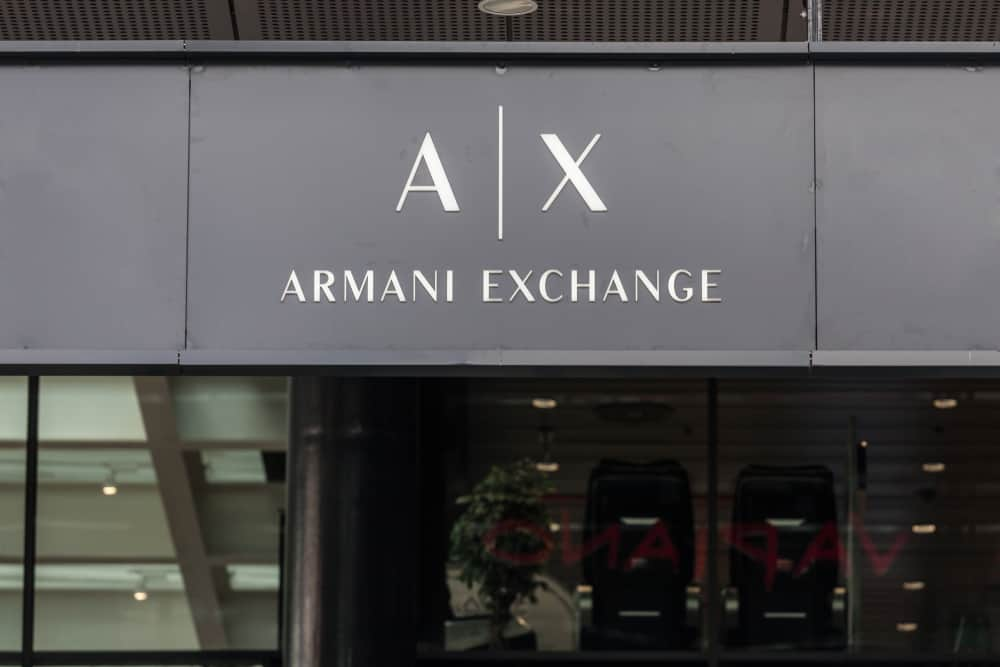 Armani Exchange logo on their main store in Belgrade Serbia.