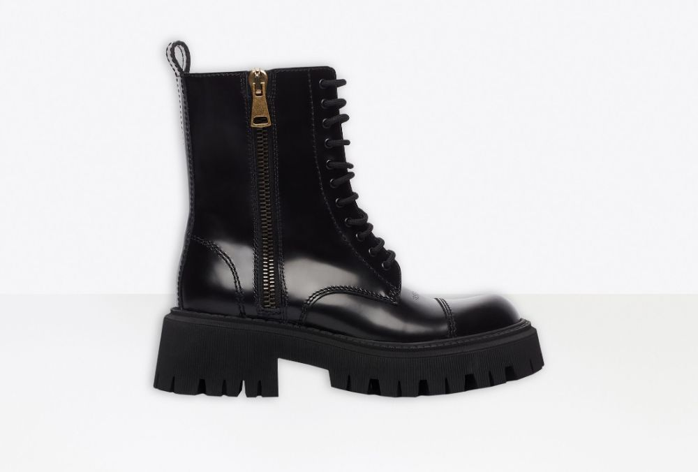 Balenciaga Women's Tractor 20mm Lace-Up Boot in Black