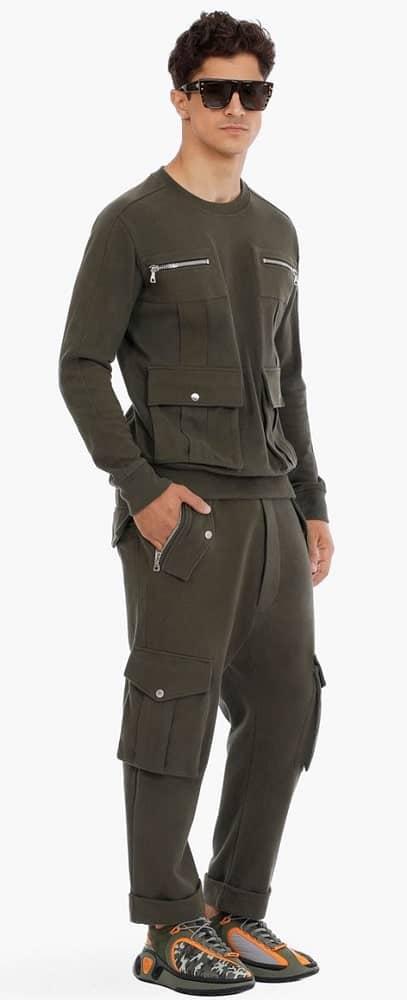 A pair of khaki cargo sweatpants from Balmain Paris.