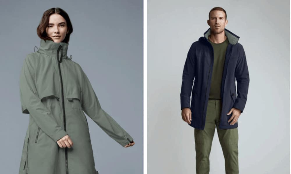 Woman and man wearing jackets.