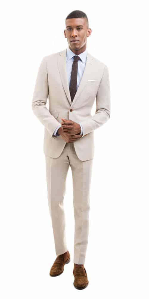 Black Lapel Khaki Linen Blend Suit