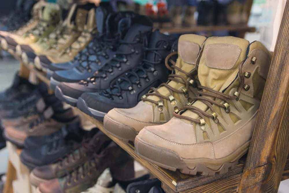 Display of various boots in a store.