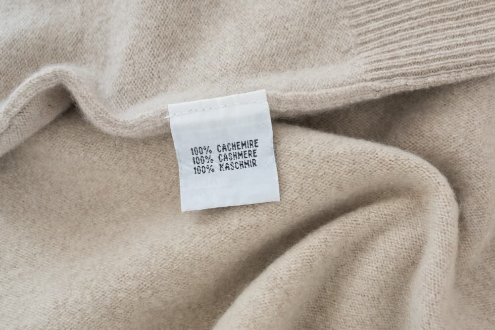 Beige cloth with cashmere label.