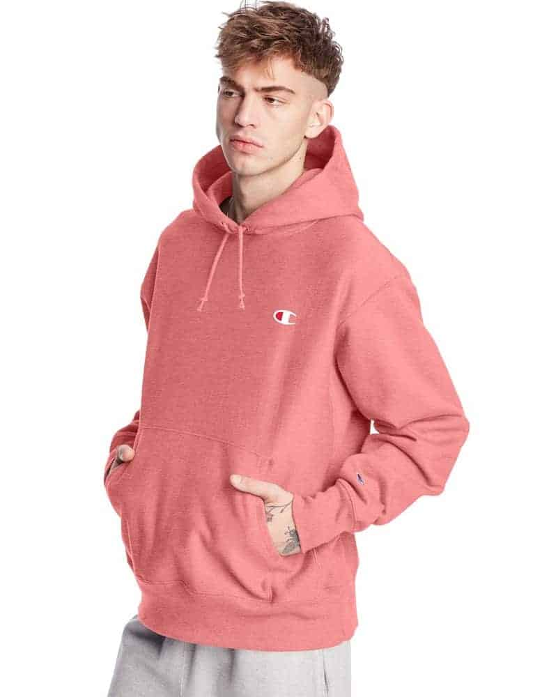 The Champion Reverse Weave Hoodie in salmon pink.