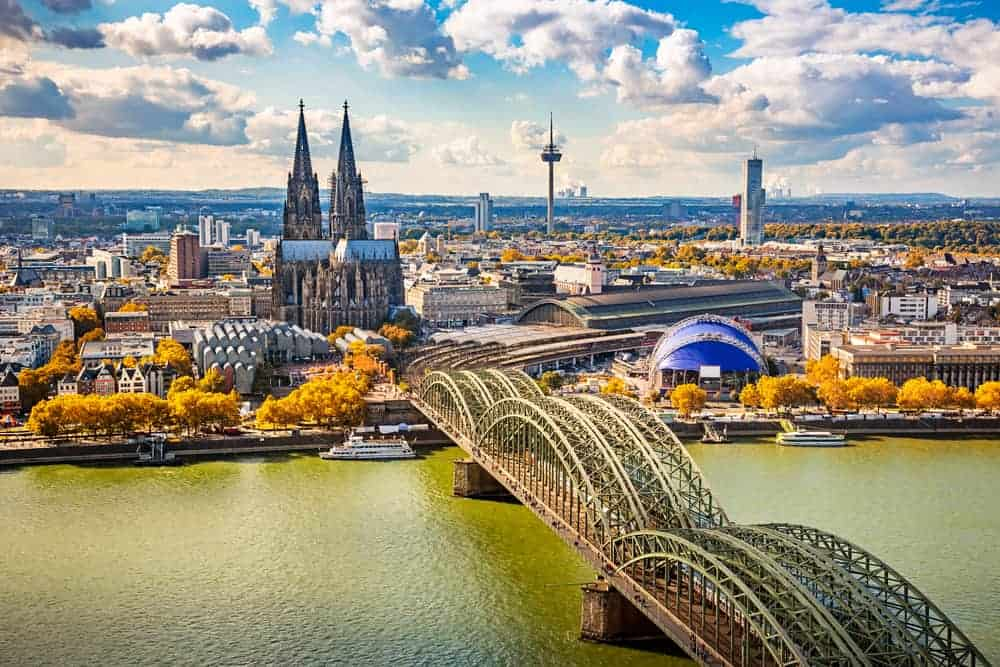 Aerial view of Cologne, Germany.