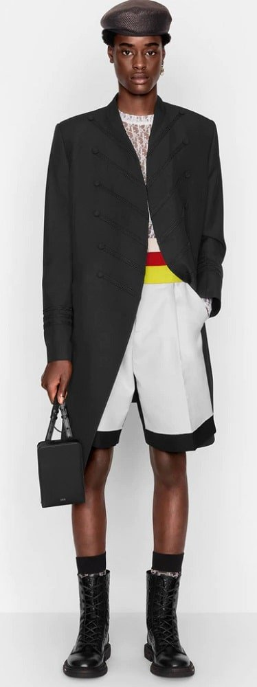 The long officer jacket in black wool from Dior.