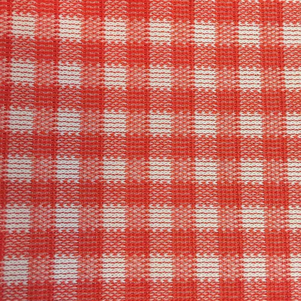 Red and white double knit gingham fabric