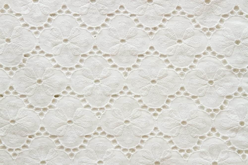 White embroidered fabric