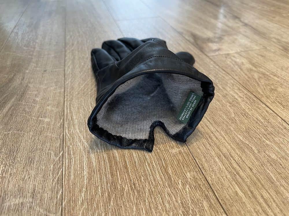 Interior Downholme black leather gloves