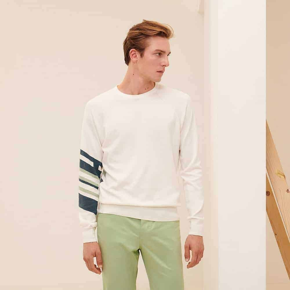 """The """"H en Course"""" Crewneck Sweater from Hermes."""