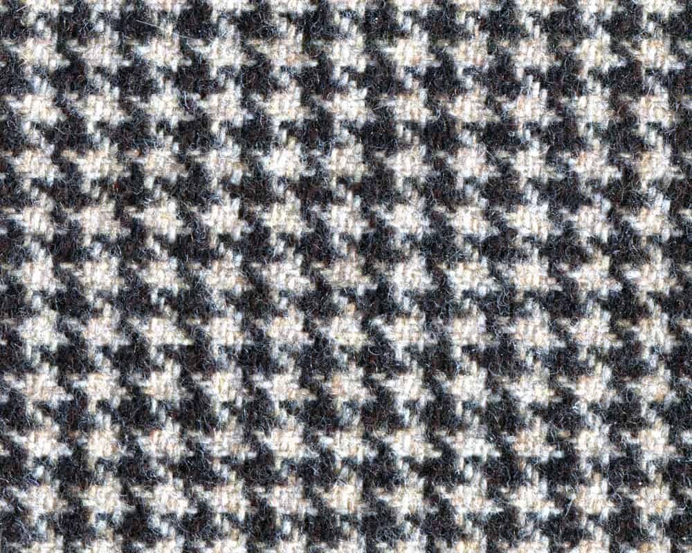 Wool fabric in houndstooth pattern.
