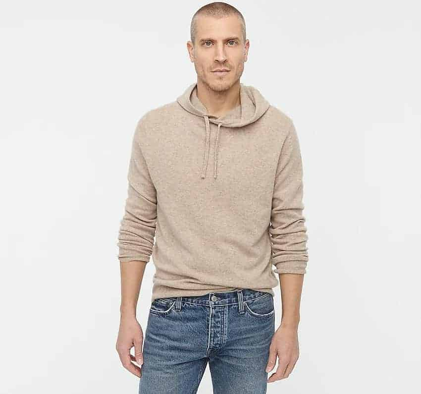 The J.Crew Everyday Cashmere Hoodie in khaki.