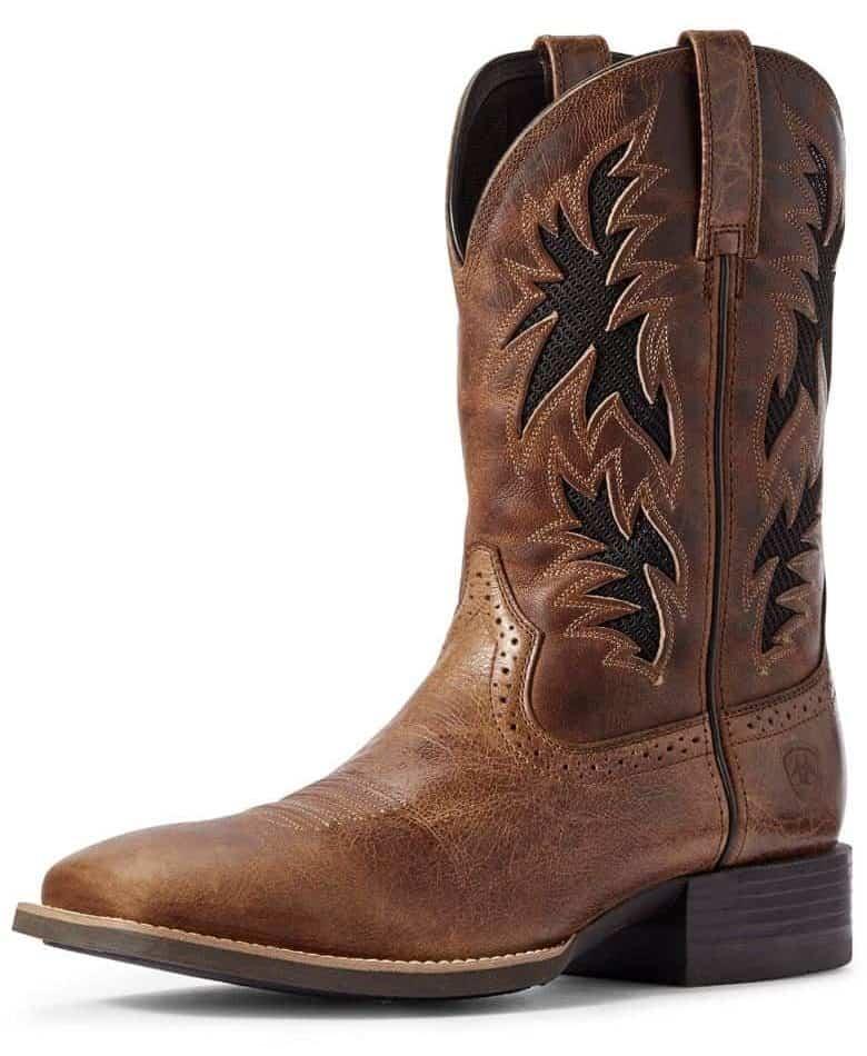 """Langston's Western Wear Ariat Men's Sport Cool Venttek 11"""" Wide Square Toe Boots - Dark Tan/Two Tone Tan"""