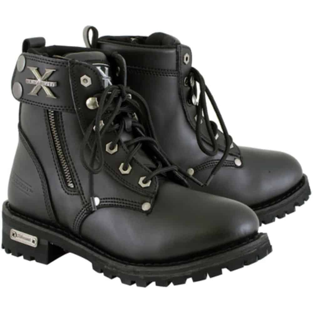 Leather Up Xelement 2505 'Righteous' Women's Black Zipper Motorcycle Boots