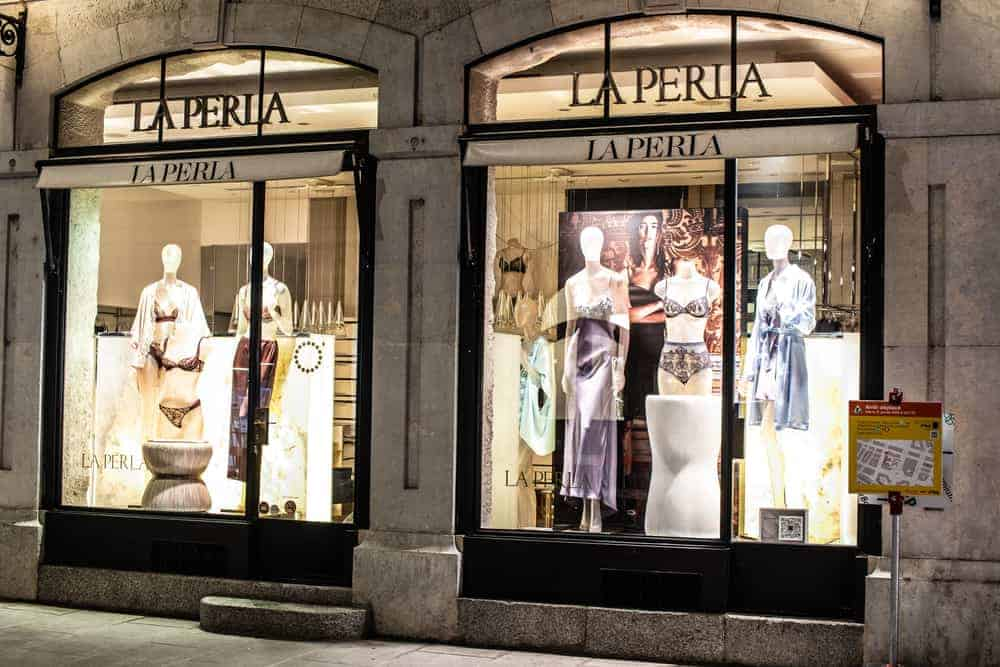 This is a close look at the La Perla storefront with various lingerie on display.
