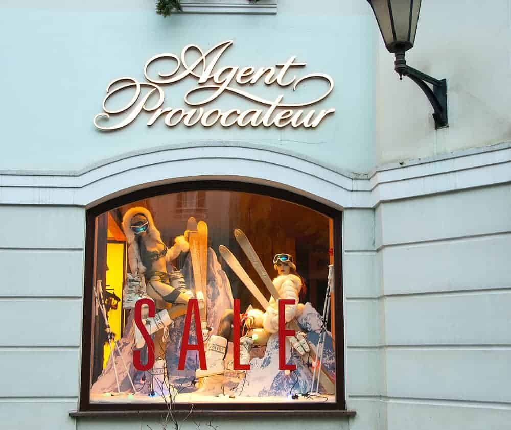 This is a close look at the Agent Provocateur storefront with various lingerie on display.