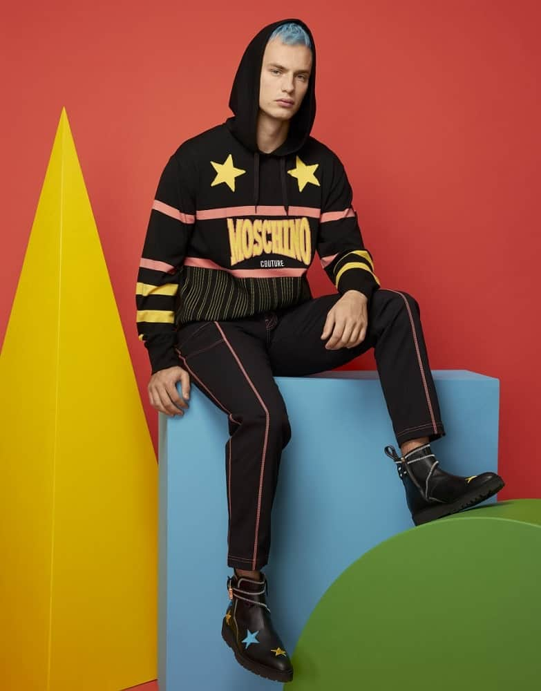 The hooded wool jacket from Moschino.